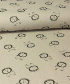 Sommersweat French Terry Elastischer Sweatshirt Creme mit Nashorn